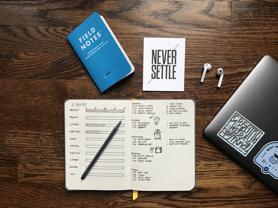Notebook with notes